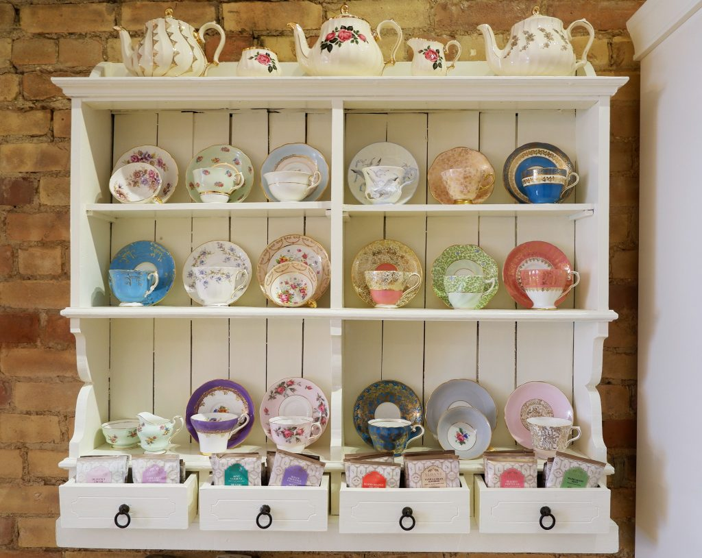 Choose a teacup and saucer from the gorgeous offerings.